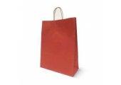 Пакет бумажный с кручеными ручками крафт красный