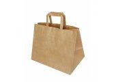 Пакет бумажный с плоскими ручками крафт коричневый
